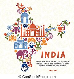 Traditional Indian symbols in the form of India map. India...