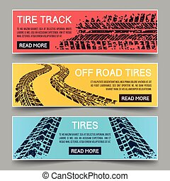 Tire tracks vector banners set Banner tire track, dirty...