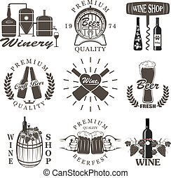 Set of wine and beer signs, badges and labels