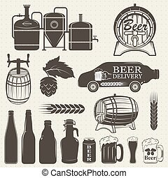 Vintage craft beer brewery emblems, labels and design...