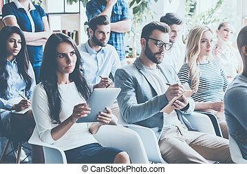 会議, グループ, モデル, メモ, 人々, 若い, 一緒に, 作成, 会議