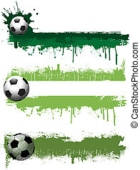 Grunge football banners - Collection of three grunge style...