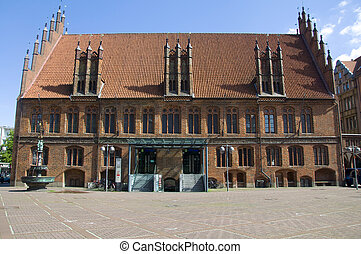 old city hall hannover - old gothic style townhall of...