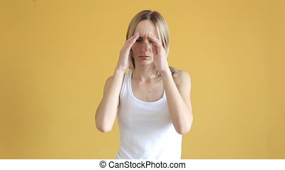 Woman having headache, close up - Woman having headache...