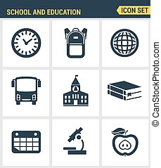 Icons set of premium quality elementary school objects and...