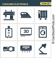 Icons set premium quality of home appliances, household consumer electronics. Modern pictogram collection flat design style symbol collection. Isolated white background.