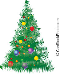 Vector Christmas Tree with green red yellow tones