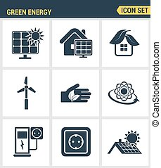 Icons set premium quality of eco friendly green energy, clean sources of power. Modern pictogram collection flat design style symbol collection. Isolated white background.