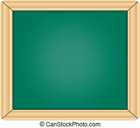Blank green chalkboard blackboard with wooden frame isolated...