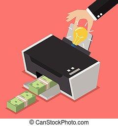 transformar, el, idea, a, el, dinero, por, impresora,