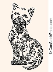 doodle outline vector cat - Cat with abstract pattern Vector...