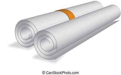 sheet roll of certificate etc.  with orange cord