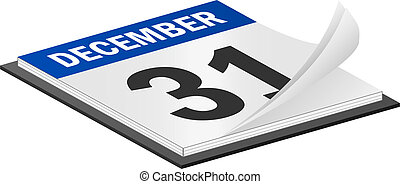 December 31th - 3D Vector Calendar December 31th Last Day of...