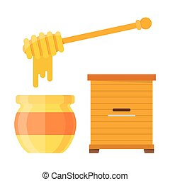 Glass jar of honey with wooden drizzler, isolated on white...