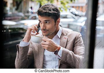 homme, conversation, sur, mobile, téléphone,...