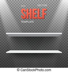 Realistic Vector Shelf With Transparent Lights EPS10 Empty...