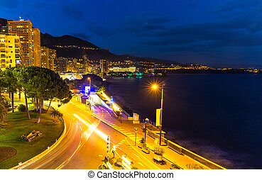 Monte Carlo beach at night