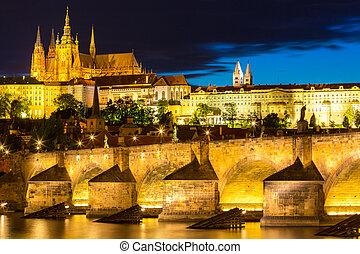 Pargue sunset Czech Republic. - Pargue sunset, view of the...