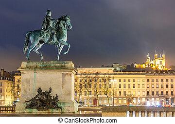 Lyon Place Bellecour France - Lyon Place Bellecour statue of...