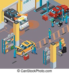 Car Service Isometric Concept - Car service top view...