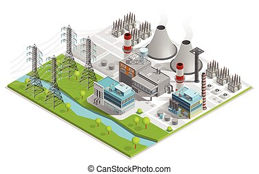 Vector Illustration Of Thermal Power Station - Vector...