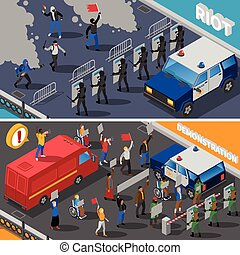 Demonstration Protest Riot 2 Isometric Banners - Civil...