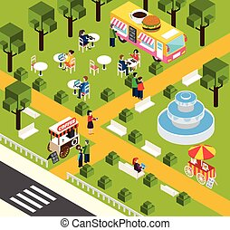 Street Fast Food Truck Isometric Banner