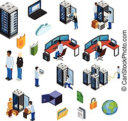 Datacenter Isometric Isolated Icons Set - Datacenter...
