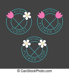 Set of flower shop vector logo