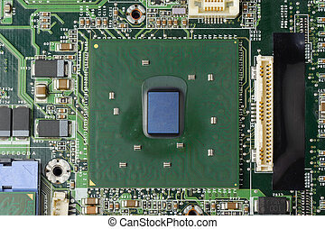 microprocessor - closeup microprocessor on motherboard...