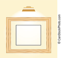 wooden horizontal picture frame with a light top of it