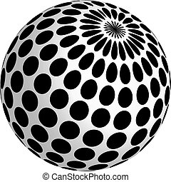 3d ball design with black dots