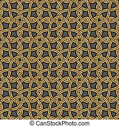 Shiny gold Celtic seamless pattern Abstract vintage Art Deco...