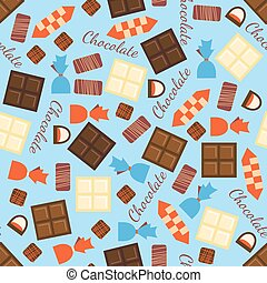 Seamless pattern with black, milk and white chocolate bars