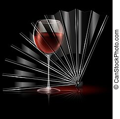 fan and glass of wine - dark background and the black fan...
