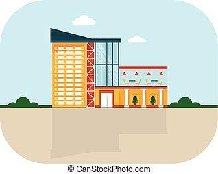 shopping center facade cafe - Shopping center with facade...