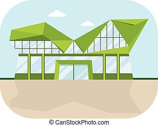 shopping center lowpolly facade - Shopping center with...