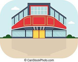 shopping center cinema facade - Shopping center with cinema...