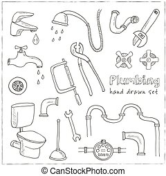 décoratif, ensemble, icônes, main, plomberie, dessiné
