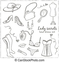 Hand drawn elegant vintage ladies set