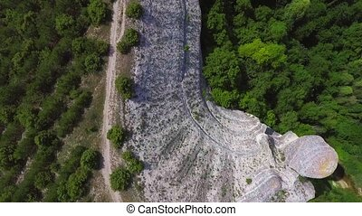 flight over mountain forest - Flight over mountain rocks and...