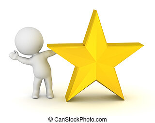3D Character Waving from Behind Star