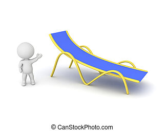 3D Character Showing Large Beach Chair - Small 3D character...