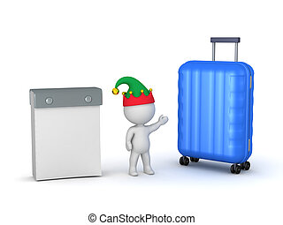 3D Character Holiday Traveling Concept with Calendar and...