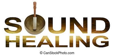 Sound Healing Logo - Tibetan Singing Bowl making the O of...