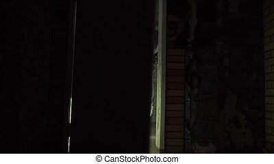 Two armed soldiers suddenly assaulting dark room clip