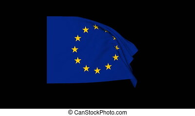 Waving European union flag, exact size, black background 4K,...