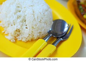 Mealtime with white rice - White rice with vegetable dishes...