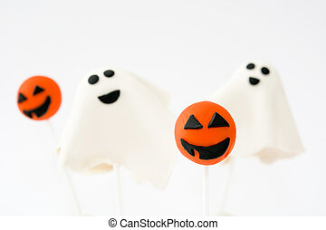 Halloween cake pops with phantom and pumpkin shape isolated...