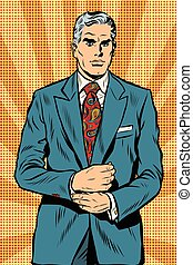 Retro businessman boss gray hair pop art retro vector....